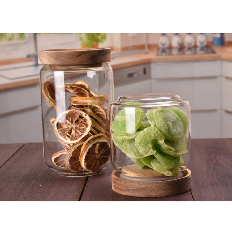 Small 250ml airtight borosilicate glass honey candy storage jar with wood lid