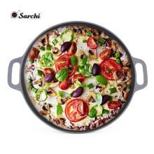 Plaque à pizza en acier inoxydable pré-séchée de 12 pouces avec poignée