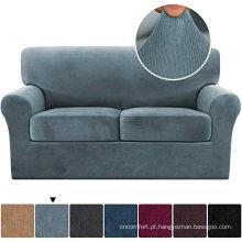 Capas de sofá elástica de 3 peças de veludo listrado espesso