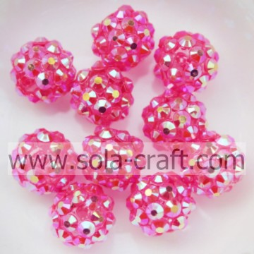 Newest Resin Rhinestone 10*12MM ball Beads Hot Clear Rose AB For Bracelets