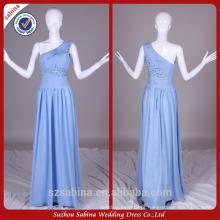 E0910 Long Sexy Light Blue Chiffon Imagens de amostra real One Shoulder Evening Party Dresses