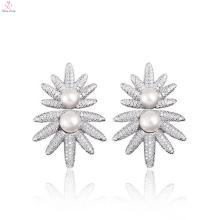 Fashion Sun Flower Design Sterling Silver Pearl Earrings Stud