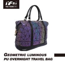Geometric luminous PU overnight travel bag