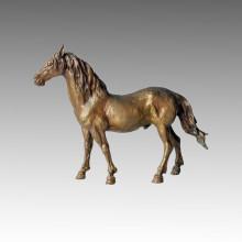 Animal de bronce Escultura de caballo decoración de latón de la estatua Tpal-004