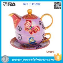 Handgemalte Teekanne mit Schmetterlingen mit Tasse und Untertasse