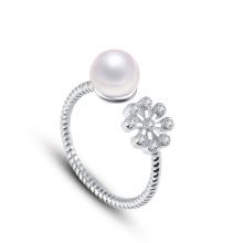 2015 Bague perlée nouvelle perle avec plaqué or 18 carats