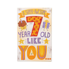 Amerikanische Grüße Super-Awesome 7. Geburtstagskarte mit Glitzer-Papierkarte