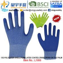 13G poliéster Shell espuma guantes revestidos de látex (L1000) Criss-Cruz en la palma con CE, En388, En420, guantes de trabajo