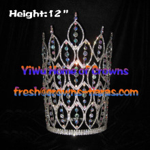12inch height AB Clear Crystal Big Pageant Crowns