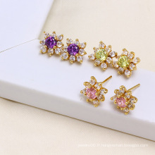 14k Gold Color La plus nouvelle Fashion Stud Zircon Elegant Earring (24322)