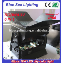 Professional 60pcs 18w dmx outdoor 6 in 1 rgbwauv led wall washer