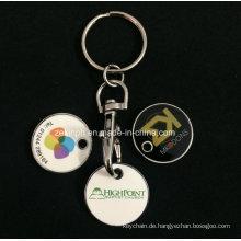 Billige maßgeschneiderte Druck Trolley Coin Schlüsselanhänger