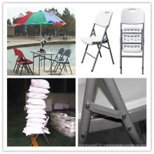 Chaise de jardin ergonomique de loisirs / Moule soufflante HDPE Chaise pliante en acier pliant en plastique / banquet Restauration Chaise de camping Picnic Camping (HQ-Y53)