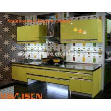 Armoire de cuisine en acier inoxydable moderne et à lame peu coûteuse fabriquée en Chine design de cabinet de cuisine pour un petit espace