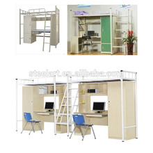 Bunk Bed Style and Home Bed Specific Use student metal bunk bed with desk and wardrobe