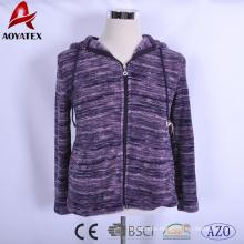 waterfall print coral fleece jacket with hood and zipper