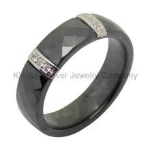 Серебряные ювелирные изделия Керамическое кольцо с серебряными аксессуарами (R21069)