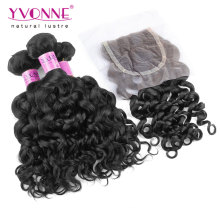 Brazilian Curly Virgin Hair Bundles with Lace Closure