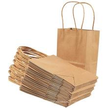 Sac de papier cadeau promotionnel avec poignée torsadée en papier kraft