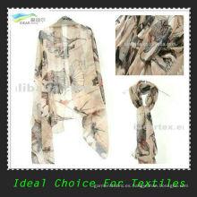 Nuevo diseño de moda 50D gasa impresa para bufanda