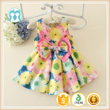 Baby Summer Dresses Yellow Floral Patterns Baby Dress New Style cotton &polyester Silk Material Baby Girl Dress Prices