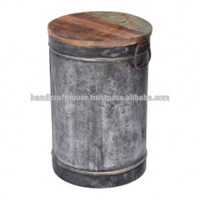Mesa de café redondo industrial del metal de la vendimia del tambor