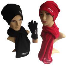 A boa qualidade barata do inverno acolchoa o lenço 3PCS da luva do chapéu do velo polar do menino e da menina macia a promoção