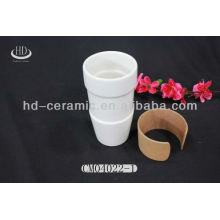 ceramic travel mug holder with silicon lid,15oz ceramic mug