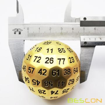 Bescon Solid Metal 100 Sided Dice, Game Dice D100, Giant Polyhedral Metal 100 Sides Dice 50MM in Diameter (1.97in), Matt Golden