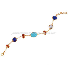 Arizona Turquoise, Lapis, Coral, Pearl and 18k Gold Plated Silver Bracelet