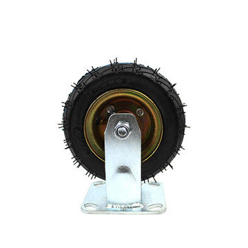 6 Inch Rubber Castor Fixed  Casters and Rigid Plate Caster Pneumatic Caster Inflatable Wheel