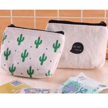 Custom printing high quality canvas material coin purse change purse coin case