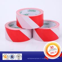 Bande adhésive d'avertissement de PVC de Yed et de blanc avec l'adhésif de colle
