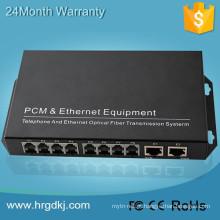 Com porta ethernet rj45 porta fxo fxs 8 canais (rj11) linha telefônica sobre conversor de fibra