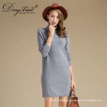 Venta caliente color gris Hight cuello largo cachemira suéteres para mujeres nuevos productos 2017
