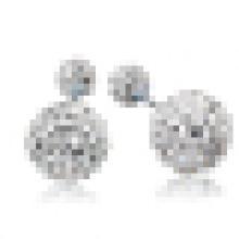 Mulheres elegantes brincos de prata 925 esterlina brincos de cristal duplo