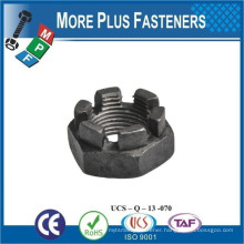 Made in Taiwan DIN 937 Low Slotted Castellated Hex Nut Carbon Steel Zinc Plated
