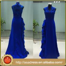 ASAM-08 Elegant Lace Appliques V-neck Sleeveless Zipper Back Blue Mother of the Bride Dresses 2016