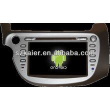 Android System lecteur dvd de voiture pour Honda Fit / Jazz avec GPS, Bluetooth, 3G, ipod, jeux, double zone, contrôle du volant