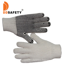 Nature Cotton or Polyester String Knit 3 Thread Gloves with Black PVC Dots One Side