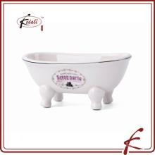 Nuevo diseño para la bañera plato de jabón de cerámica con logotipo impreso