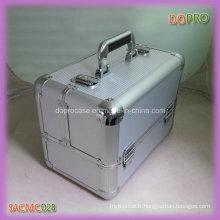 Cas de vanité de maquillage portatif en aluminium rayé argenté d'ABS (SACMC028)