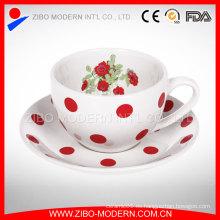 Venta al por mayor Decal Impresión Taza de café esmalte con esmalte Saucer