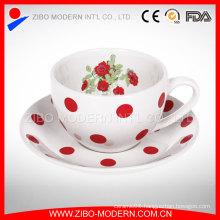 Wholesale Decal Printing Enamel Coffee Mug with Enamel Saucer