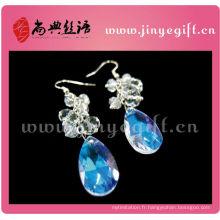 Blue Ocean Sea World Boucles d'oreilles avec diamant en forme de larme