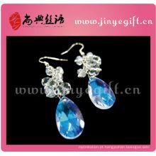 Azul oceano mar mundo lágrima droping cristal brincos de diamante