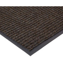PVC backing needle punched double rib door mat/ single color ribbed polyester door mat with pvc backed
