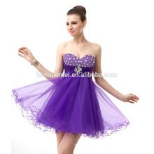 2017 Élégante épaule robe de soirée nuptiale courte conception robe de soirée de couleur pourpre perlée avec décolleté chérie