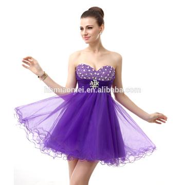 2017 Elegant off shoulder bridal evening dress short design purple color evening dress beaded with sweetheart neckline