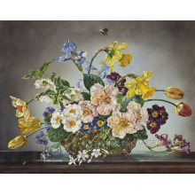 Pintura al óleo moderna de la flor en lona
